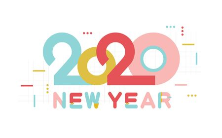 Happy New Year 2020 number and text. Modern Design for greeting poster and cards, calendars, banners, site, business card, covers. Isolated vector illustration