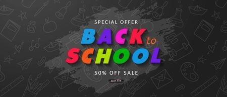 Special offer Back to School Sale. Advertising banner with colorful letters. Vector illustration for website , posters,ads, coupons, promotional material