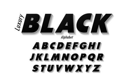 Set di caratteri maiuscoli alfabeto nero elegante. Set di caratteri tipografia stile classico nero, poster, invito. Illustratore vettoriale Vettoriali