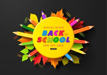 Special offer Back to School Sale. Advertising banner with colorful pencils,autumn leaves and paper clips. Vector illustration for website , posters,ads, coupons, promotional material