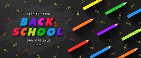 Special offer Back to School Sale. Advertising banner with colorful pencils and paper clips. Vector illustration for website , posters,ads, coupons, promotional material Ilustração