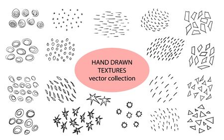 Hand drawn textures, template. Vector design elements. Set of background texture, points, strokes,circles,lines,stars,triangles, ornament in grunge style