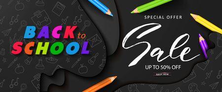 Back to school sale banner with colored pencils.Design for banner, flyer, invitation, poster, web site. Paper cut style, vector illustration Ilustração