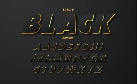 Set of Elegant Black alphabet with gold edges.Uppercase font. Typography classic style black and gold font set for , Poster, Invitation. Vector illustration