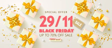 Black friday sale background with gift boxes and serpentine. Modern design.Universal vector background for poster, banners, flyers, card.