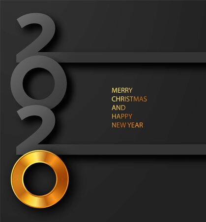 Merry Christmas and Happy new year 2020 banner with golden luxury text. Gold Festive Numbers Design. Vector illustration.