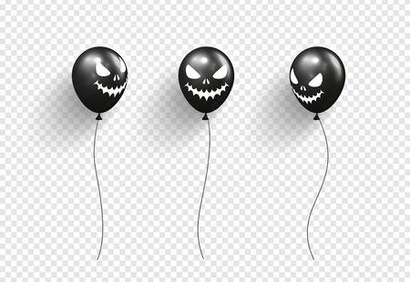 Halloween balloons isolated on transparent background.Vector illustration.
