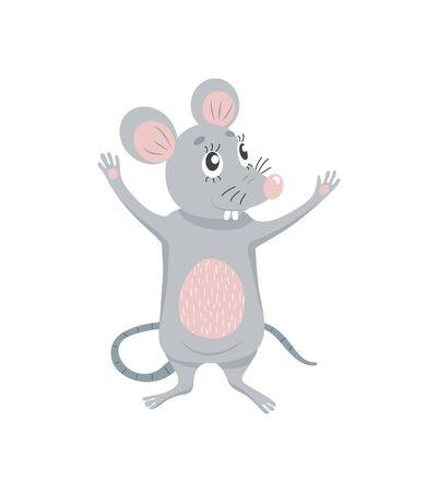 Cute cartoon mouse. Symbol of 2020 year. Vector illustration