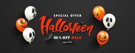 Halloween Sale Promotion Poster with scary balloons and paper bats on black background.Vector illustration for website , posters, ads, coupons, promotional material.