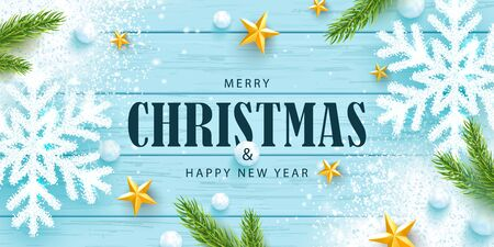Merry Christmas and Happy New Year horizontal banner. Holiday background with sparkling snowflakes,tree branches, golden stars, snowballs and snow on a wooden background. Festive vector illustration.