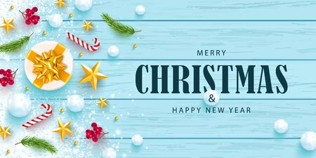 Merry Christmas and Happy New Year horizontal banner. Holiday background with golden stars, rowan, snowballs, branches,gift box and snow on a wooden background. Festive vector illustration.