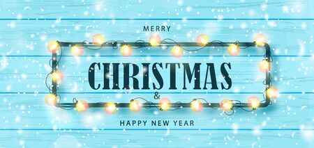 Merry Christmas and Happy New Year horizontal banner. Holiday background with garland and snow on a wooden background. Festive vector illustration.