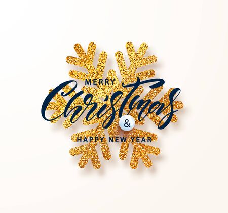 Merry Christmas and happy new year.Greeting card with a shiny Golden snowflake. Vector illustration. Çizim