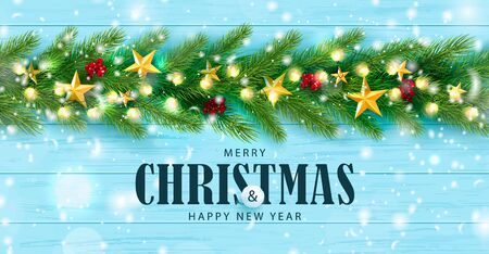 Merry Christmas and Happy New Year horizontal banner. Holiday background with golden stars, rowan,garland, Christmas tree branches and snow on a wooden background. Festive vector illustration. Çizim