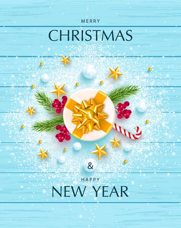 Merry Christmas and Happy New Year banner. Holiday background with golden stars, rowan, snowballs, branches,gift box and snow on a wooden background. Festive vector illustration.