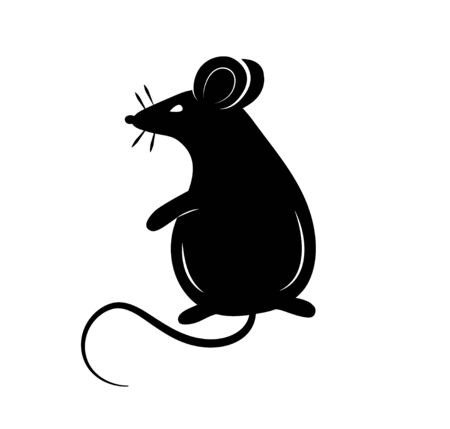 Black silhouette of a rat or mouse on a white background.Vector illustration. Symbols of 2020 Chinese New Year