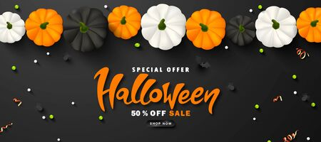 Halloween Sale Promotion Poster with pumpkins, spiders, bats, streamers and beads .Vector illustration for website , posters, ads, coupons, promotional material