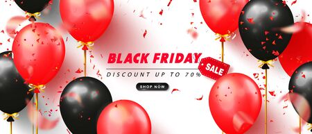Black friday sale advertising poster with black and red balloons and flying serpentine on white background. Modern design.Universal vector background for banners, flyers, card. Ilustração