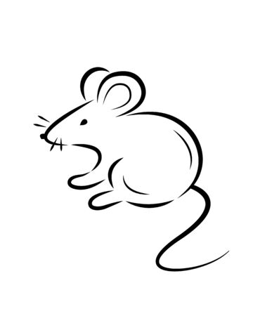 Black silhouette of a rat or mouse on a white background.Vector illustration. Symbols of 2020 Chinese New Year. Illustration