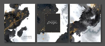 Set of creative postcards with black watercolor and gold sequins.Collection of hand drawn artistic creative universal cards templates.Design invitations, brochures and more.Vector illustration.