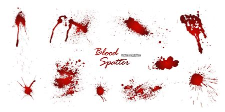 Set of various blood or paint splatters isolated on white background. Happy Halloween decoration,horrible blood drops, creepy splash, spot.Vector illustration. Vektorové ilustrace
