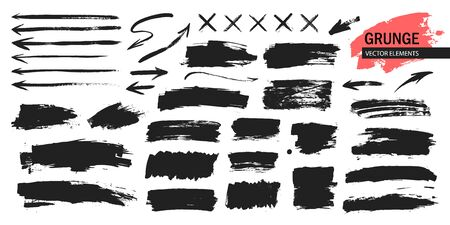 Set of black paint, ink brush strokes, arrows, crosses. Dirty artistic design elements, boxes, frames for text.