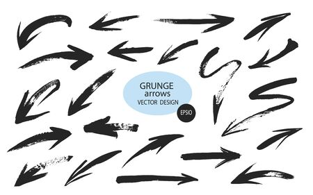 Set of different grunge brush arrows, pointers.Hand drawn paint object for use in your design.Vector illustration.