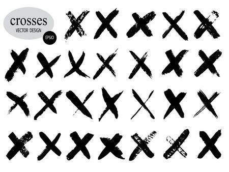 Letter X logo.Cross sign graphic symbol. Set of hand-drawn signs.Crossed brush strokes.Vector illustration Vectores