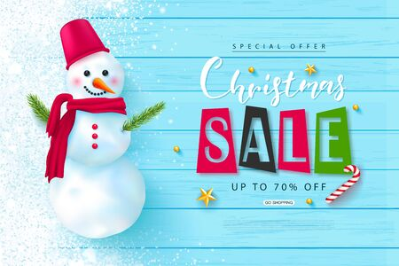 Christmas sale web banner. Holiday background with cute snowman, snow and golden stars .Vector illustration for website, posters, ads, coupons, promotional material.