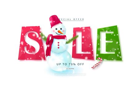 Christmas sale web banner. Holiday background with cute snowman and falling snow.Vector illustration for website, posters, ads, coupons, promotional material.