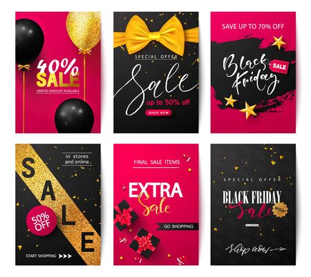 Black Friday Set of sale banners with balloons, gift boxes, bow and more. Vector illustrations of mobile website banners, posters, ads, coupons.