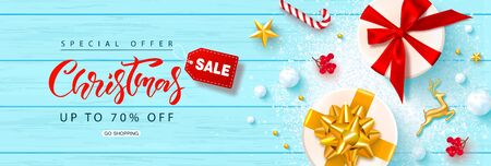 Christmas sale.Banner with gift boxes, gold metal deer, stars, Rowan and snowballs on a wooden background.Vector illustration for website,posters,ads,coupons,promotional material. Çizim