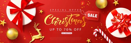 Christmas sale web banner template. Holiday background with gift boxes, Golden metal deer, Christmas tree balls, gold stars and confetti. Vector illustration for coupons,promotional material,website,posters,ads.