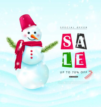 Winter sale.Background with snowman and falling snow.Vector illustration for banner, poster, brochures, booklets, promotional materials, website.