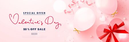 Valentine's Day sale advertising banner. Festive background with balloons, gift box, pink ribbon, heart and confetti. Vector illustration for promotional materials, brochures, posters, website, advertising and other