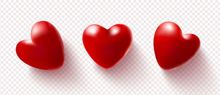 Set of red 3D hearts isolated on a transparent background.Vector illustration.Love concept.