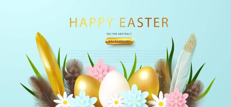 Festive banner with Easter eggs, feathers and flowers.Vector illustration for poster, postcard, brochure, advertising materials Ilustracja