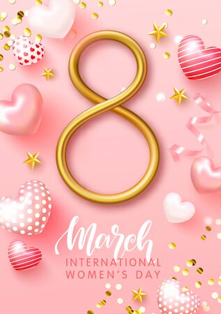 Happy Womens Day greeting card. 8 march modern background design with cute hearts, Golden confetti and stars. Vector illustration.
