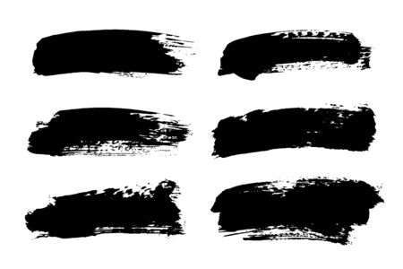 Vector black paint, ink brush stroke, brush, line or texture. Dirty artistic design element, box, frame or background for text