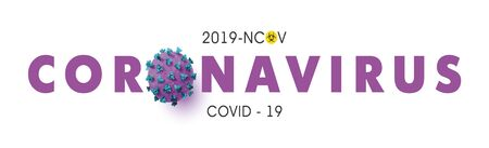 Novel Coronavirus 2019-nCoV background with realistic microscopic 3D virus cell.COVID-19 Coronavirus outbreaking and Pandemic concept.Vector illustration eps 10 Ilustração