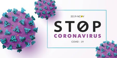 Stop Coronavirus 2019-nCoV background with realistic microscopic 3D viral cells.COVID-19 Coronavirus outbreaking and Pandemic concept.Vector illustration eps 10