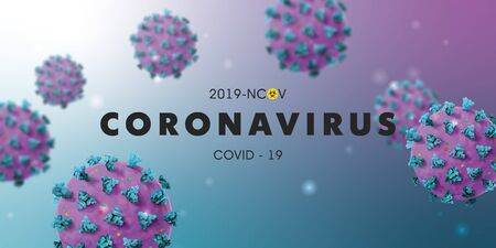 Coronavirus 2019-nCoV background with realistic microscopic 3D viral cells. COVID-19 Coronavirus outbreaking and Pandemic concept.Vector illustration eps 10