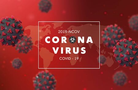 Coronavirus 2019-nCoV banner with realistic microscopic 3D virus cell.COVID-19 Coronavirus outbreaking and Pandemic concept.Vector illustration eps 10