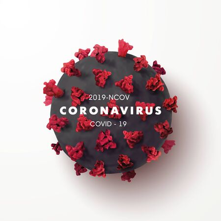 Coronavirus 2019-nCoV banner with realistic microscopic 3D viral cell.COVID-19 Coronavirus outbreaking and Pandemic concept.Vector illustration