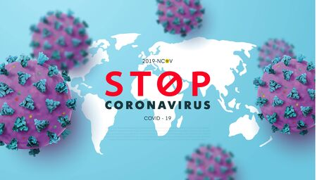Stop Coronavirus 2019-nCoV Concepts with realistic microscopic 3D viral cells.COVID-19 Coronavirus outbreaking and Pandemic concept.Vector illustration eps 10