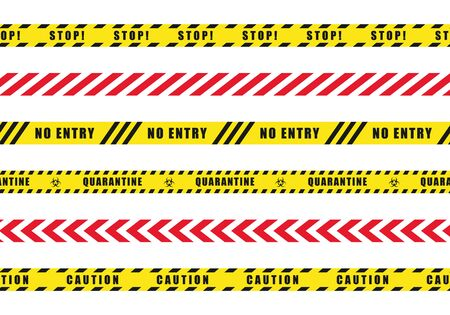 Set of danger caution seamless tapes.Vector illustration