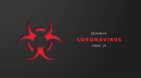 Coronavirus 2019-nCoV banner with biohazard symbol.COVID-19 Corona virus outbreaking and Pandemic concept.Vector illustration