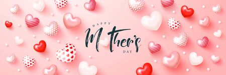 Happy mothers day banner with cute 3d hearts. Template design for postcard, flyer,poster, invitation.Vector illustration Ilustração