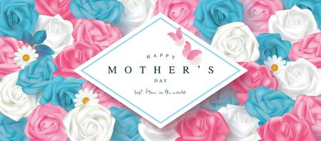 Happy mothers day card with roses and butterflies. Floral background. Template design for postcard, flyer,poster, invitation.Vector illustration