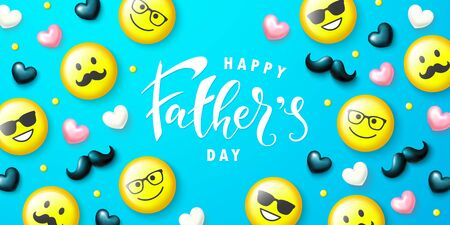 Happy fathers day banner.Emoticons with glasses and mustache. Template design for postcard, flyer,poster, invitation.Vector illustration